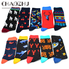 CHAOZHU New Big Size European Mens Footwear Fashion Novel Creative Cartoon Animals Fruits Striped Crew Socks Jacquard Fancies
