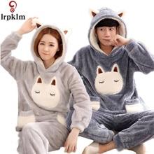 Long-Sleeve kigurumi Pajamas unicorn Winter Flannel Warm Love Mens Pyjamas Women's Sleep Lounge Couple Pajama Sets 647