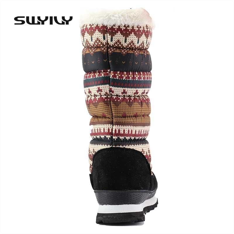 boots Mi Snow Fourrure Swyivy Coton Mince Bottes Femme Femelle Chaussures Hiver Impression pourpre 2018 Floral Neige Jambe Orange Rembourré Chaud mollet doWrBexC