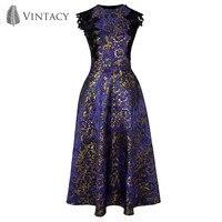 Women Purple Luxury Party Dress Gold Foil Floral Patchwork Elegant A line Dress Summer 2018 Sleeveless Metal Vintage Dress