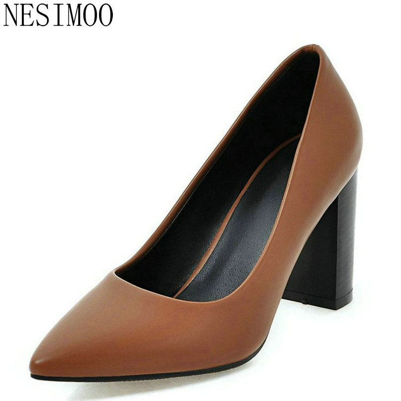 NESIMOO 2018 Fashion Women Pumps Pointed Toe Spring Autumn OL Shoes Square High Heel Women Shoes Lady Wedding Shoes Size 34-43