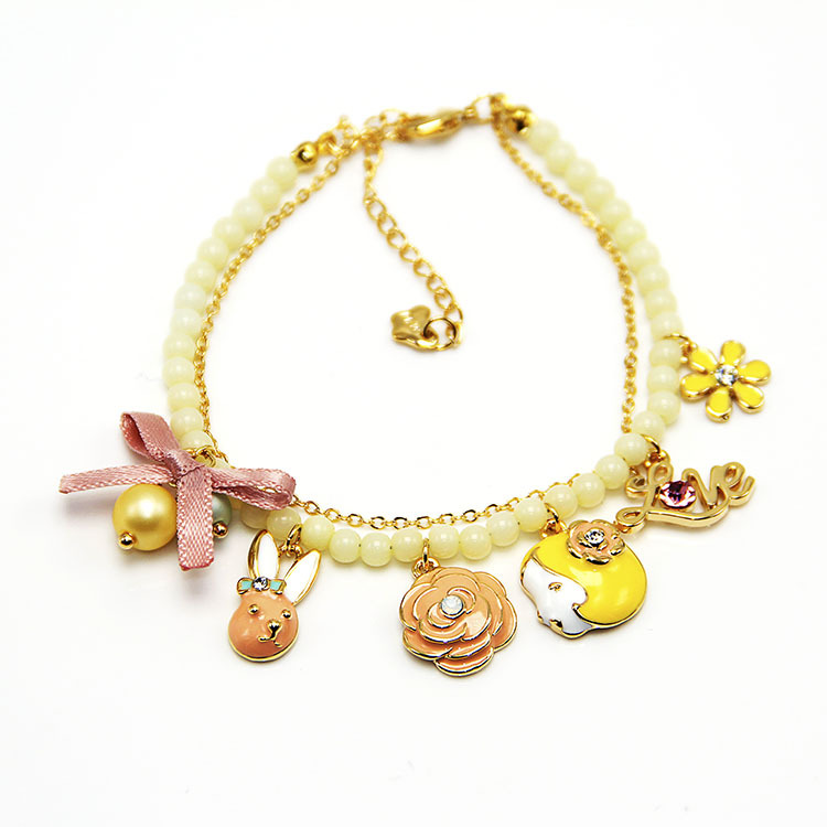 Fashion cute and sweet love letter pendant font b bracelet b font hot in summer