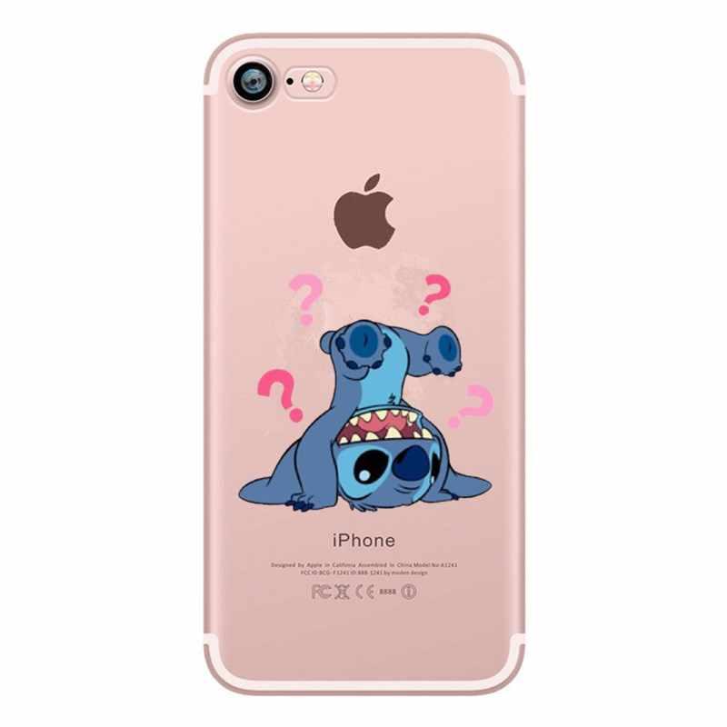 Lucu Kartun Stitch Phone Case untuk iPhone 6 6 S 7 8 PLUS 5 5 S SE X XS Case silikon Lembut TPU Kembali Cover untuk iPhone 7 Plus