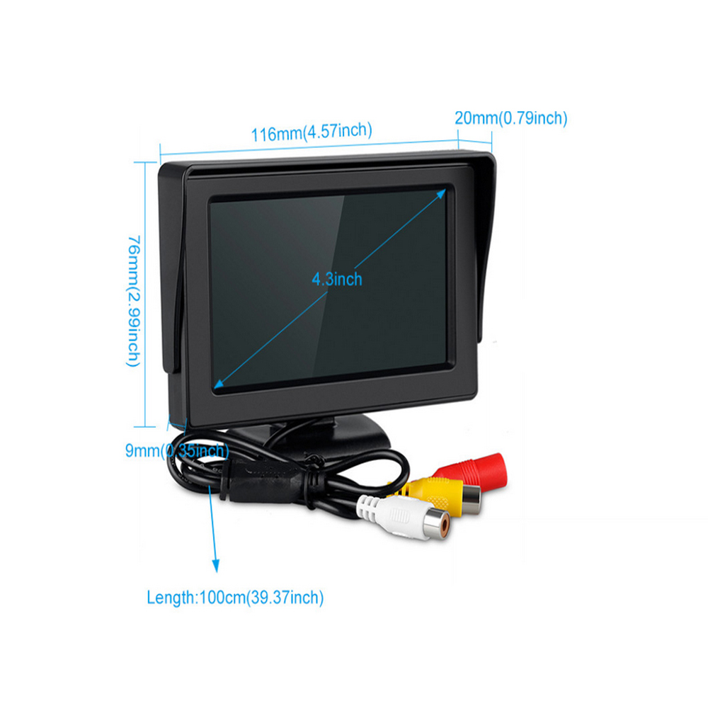 2018 Auto 4.3 Car Monitor TFT LCD Car Rear View Monitor Parking Rearview System for Backup Reverse Camera VCD DVD Display