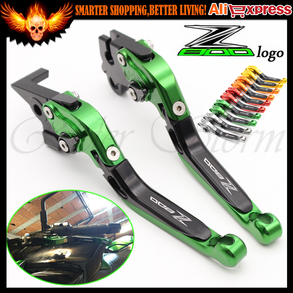 NEW With Logo Z800 Folding Extendable Adjustable CNC Aluminum Brakes Clutch Levers For Kawasaki Z800 E