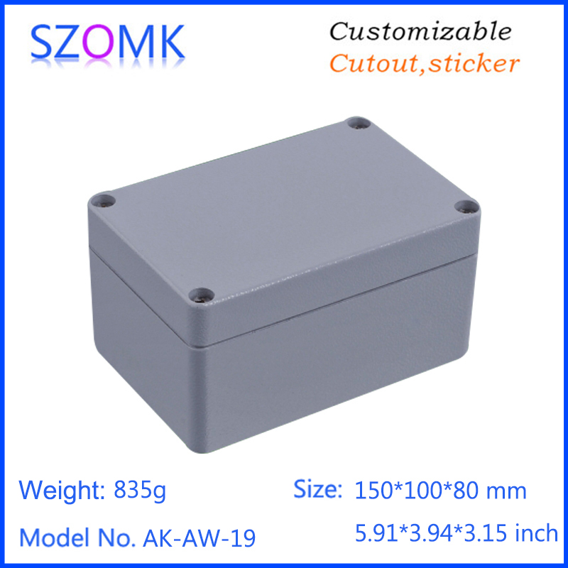 1 piece, 150*100*80mm szomk electrical die casting waterproof aluminum amplifier enclosure control switch housing box 1 piece 250 190 92mm hot selling die casting aluminum electronic enclosure control housing case waterproof aluminum enclosure