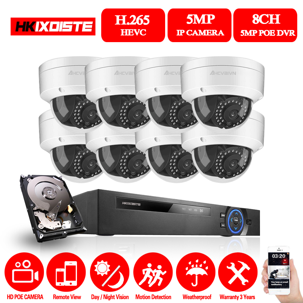 HD 8CH NVR 5.0MP POE CCTV camera System Kit 5MP Indoor Outdoor Waterproof IP Camera POE home security Video Surveillance set Pri image