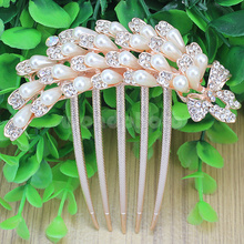 Crystal Rhinestone Faux Pearl Butterfly 5 Tooth Hair Comb for Wedding Party Prom