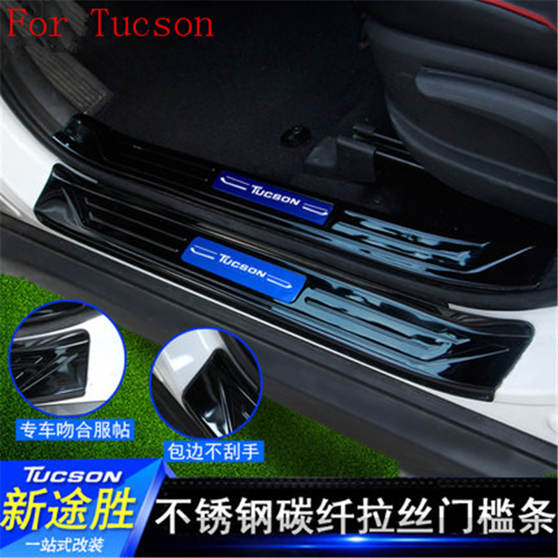 8PCS high quality stainless steel Scuff Plate/Door Sill Door Sill fit For Hyundai Tucson 215 2016 2017 Car styling Chromium Styling     - title=