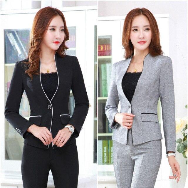d55a12216 2019 женский пиджак с длинным рукавом пальто костюм черный костюм женский  повседневный костюм куртка + брюки однотонный цвет большой размер куртка  костюм ...