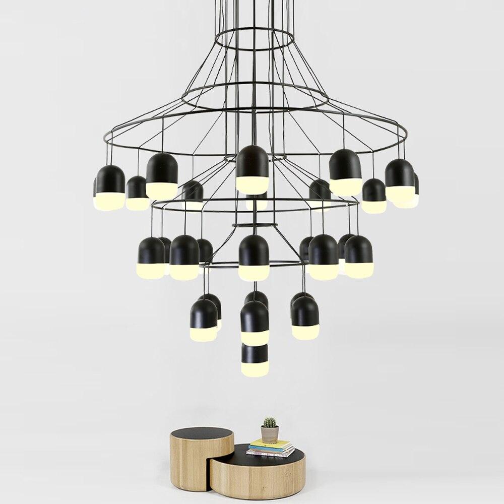 Nórdico moderno arte araña ático escalera Villa sala de estar comedor Retro colgante LED luces industriales
