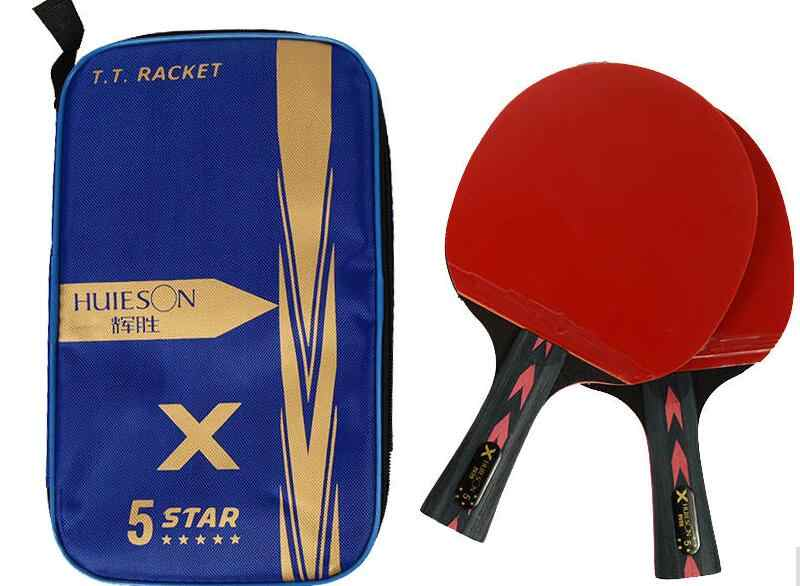 2018 NEW Huieson 2Pcs Upgraded 5 Star Carbon Table Tennis Racket Set Lightweight Powerful Ping Pong Paddle Bat with Good Control