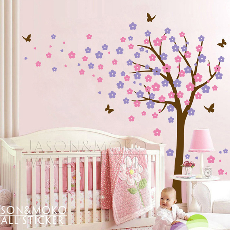 Large tree butterfly flowers blossom spring vinyl wall for 8 sheet giant wall mural