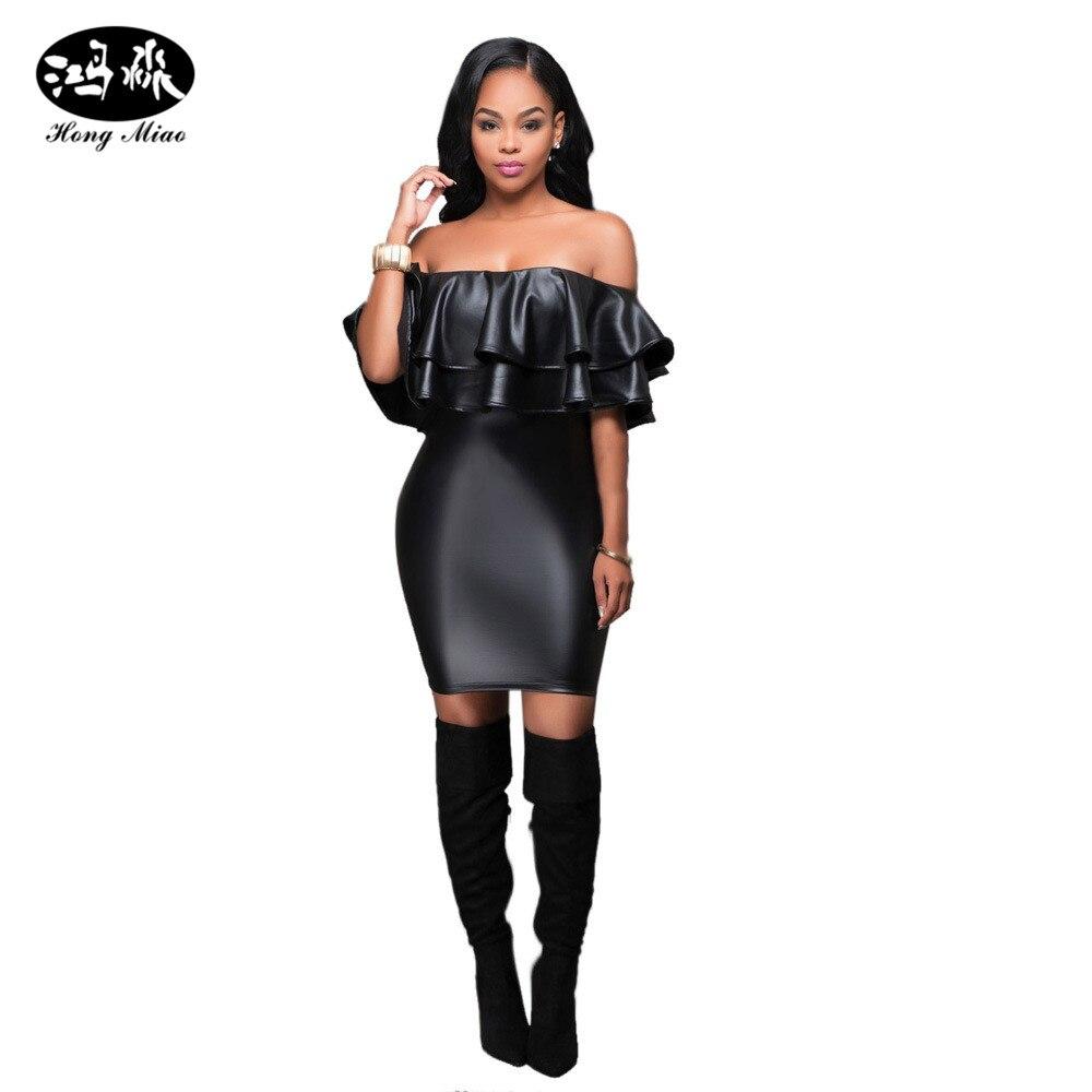 Black dress woman - 2017 New Fashion Sexy Club Faux Leather Dress Women Clothes Black Off Shoulder Bandage Dress Ruffles