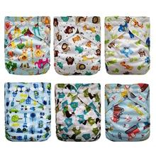 Купить с кэшбэком Baby Diapers Reusable Nappies Christmas Cartoon Positional Digital Print Newborn Cloth Diaper Washable Pocket Diaper Cover BNK04