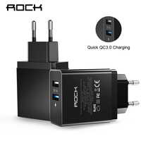 ROCK 2 USB Port Quick Charger 2 0 Phone Chargers MTK Quick Travel Charger Adapter EU