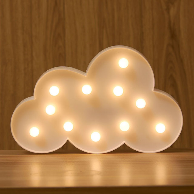 battery operated led cloud letter light christmas birthday prom home party decoration kids gift light up