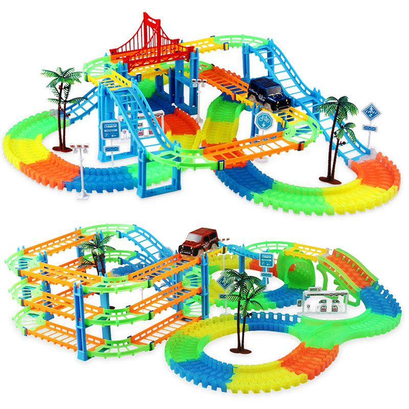 Image 2 - 2019 Railway Magical Racing Track Play Set Educational DIY Bend Flexible Race Track Electronic Flash Light Car Toys For children-in Diecasts & Toy Vehicles from Toys & Hobbies
