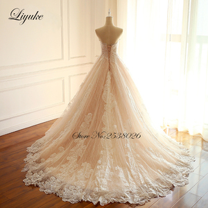 Image 4 - Liyuke Embroidery Strapless A Line Wedding Dress Floral Print Lace Elegant Bridal Dress  Lace Up with Court Train