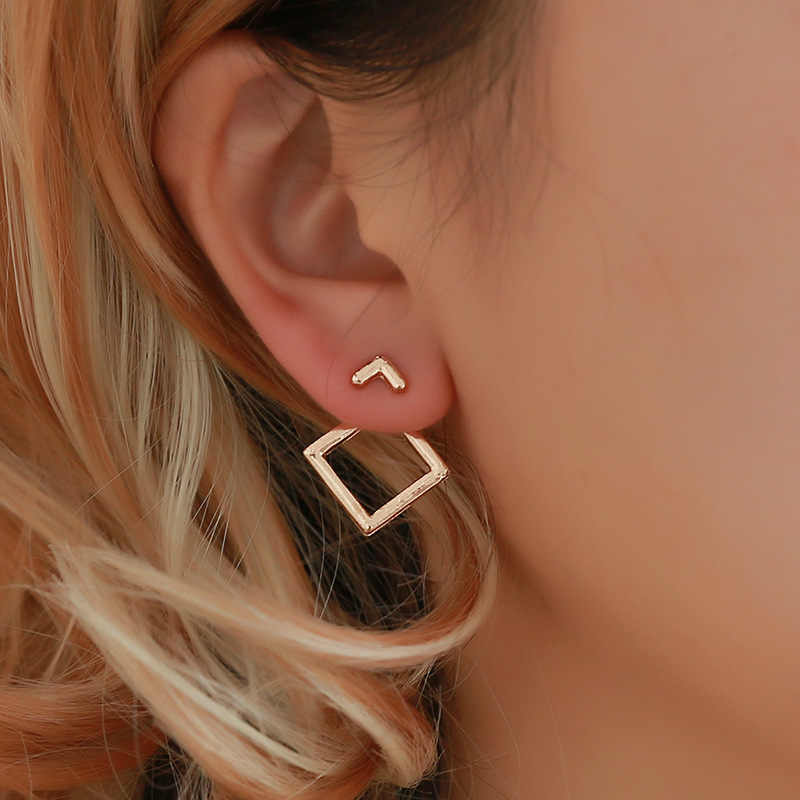 Wholesale Korean Trendy Cute Earrings Jewellery Geometric Square V Word Stud Earrings For Women Fashion Jewelry 2019 Oorbellen