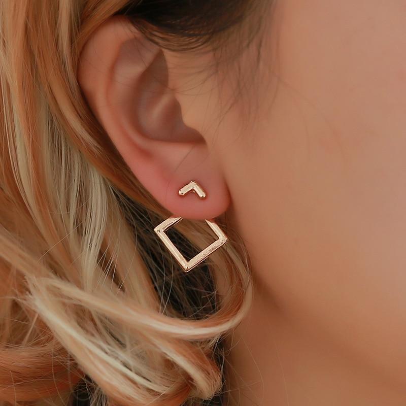 Wholesale Korean Trendy Cute Earrings Jewellery Geometric Square V Word Stud Earrings For Women Fashion Jewelry 2019 Oorbellen