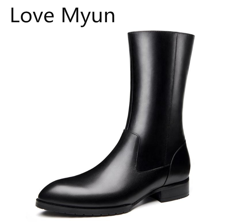 Mens Pointed Toes Genuine Leather Chelsea Boots Shoes Men Autumn Winter Warm Snow Boots Simple Elegant Riding Equestrian BootsMens Pointed Toes Genuine Leather Chelsea Boots Shoes Men Autumn Winter Warm Snow Boots Simple Elegant Riding Equestrian Boots