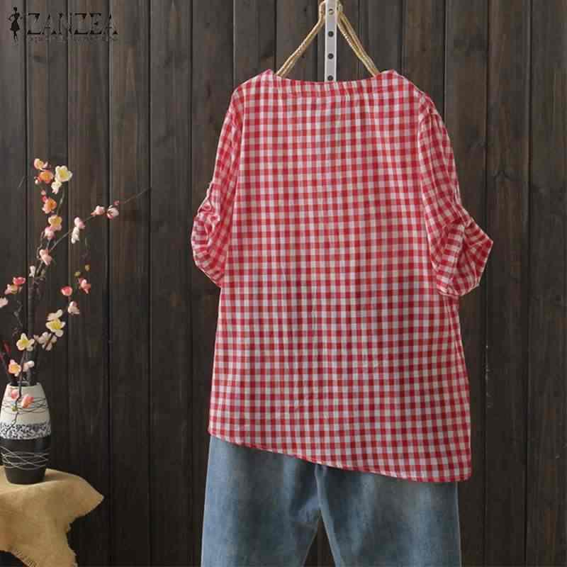 2019 ZANZEA Женская Туника Топы летние повседневные рубашки с коротким рукавом винтажные клетчатые свободные вечерние Роскошная блуза Famele Chemise Blusas