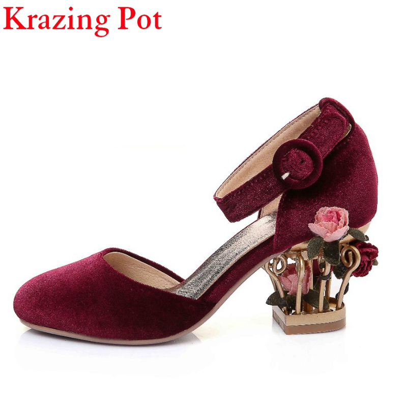 2017 Fashion Brand Shoes Luxury Large Size Slip on Ankle Strap Flower High Heels Women Pumps Wedding Birdcages Shoes Woman L88 fashion spring platform thick heel ladies shoes ultra high heels ankle strap women pumps glitter slip on dress wedding pumps