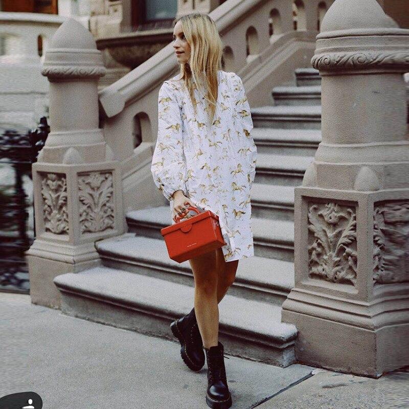 Bohême 2019 bouton plissé imprimé cheval coton confort mini robe femmes à manches longues col debout poupée lâche robe