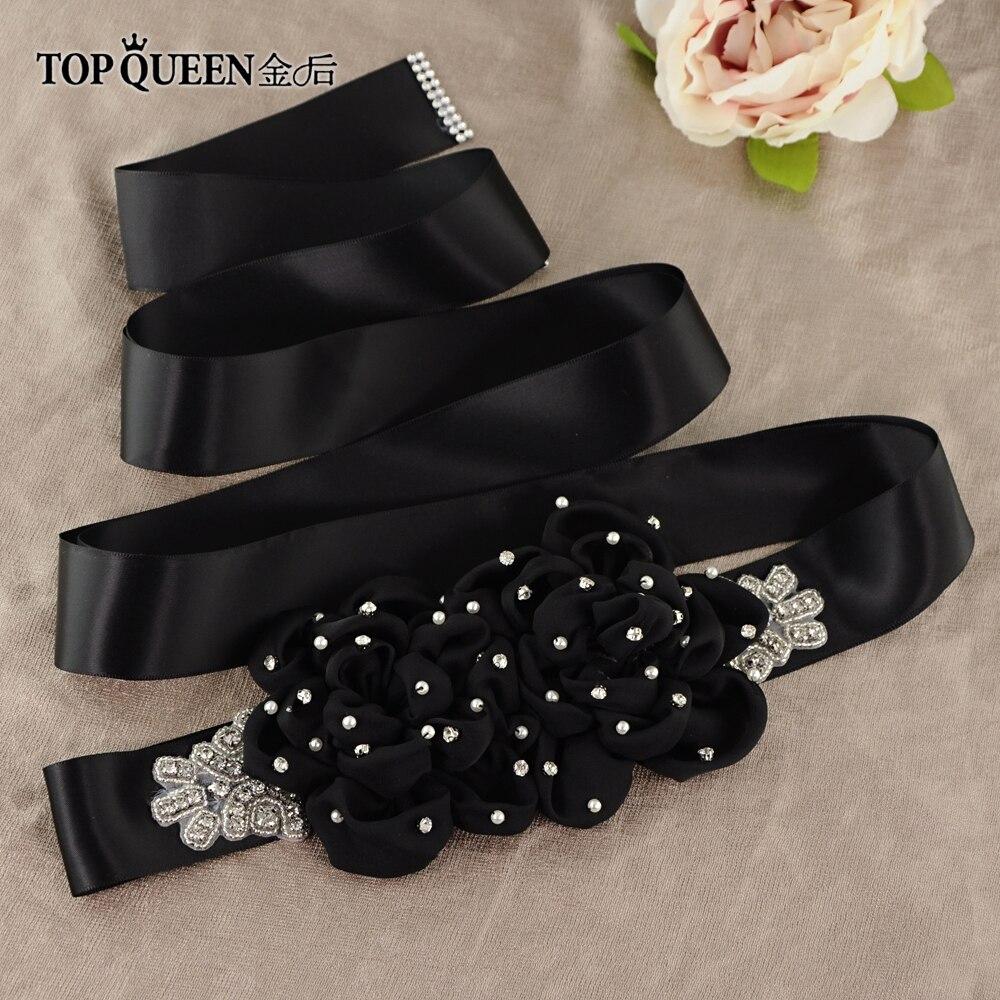 TOPQUEEN Beaded Black Sash  Girl Big Black Flower Bridal Belt Black Rose Flower Bridal  Black Beaded Belt Black Sash Belt  S418
