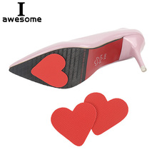 1 Pair Love Heart High Heel Anti-slip Self-Adhesive Protective Sole Stickers Red Love shape Non-slip Protect Pads Cushion Insole pair of high heel heart rhinestone shape earrings