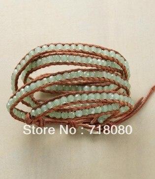 Hot Jewelry Light Green Natural Beads Wrap Bracelet Handmade 5 Around Bracelets For Men And