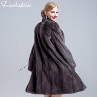 Fanshefeier 2018 new real mink fur women's coat real natural mink fur high quality winter warm women's luxury fur clothing