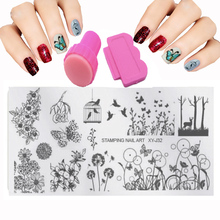 New Nail Stamping Plates Set Stamp Flower Patterns Manicure Nail Art Templates + Stamper + 1 Scraper Beauty Art Tool 32 Styles