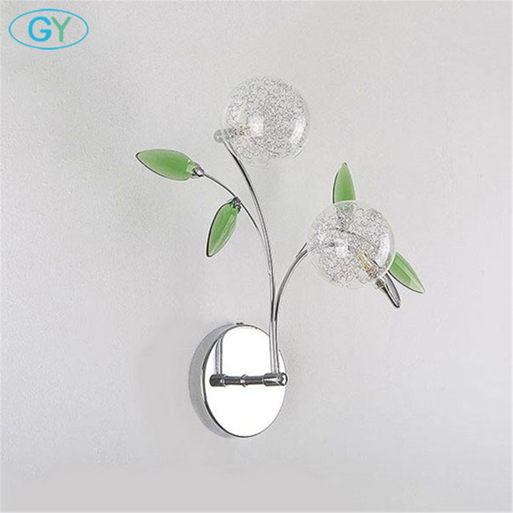 AC110V 220V 2018 New Aluminum wire LED wall lamp lights sonces Green crystal leaf decoration lustre abajur luminaire lighting