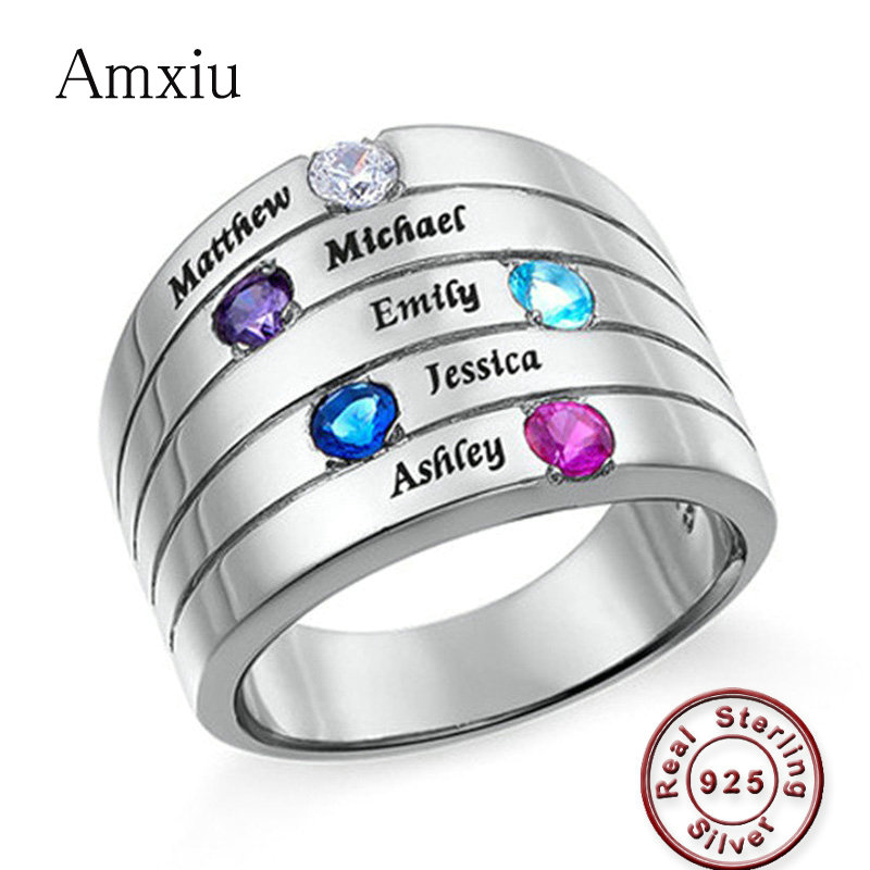 Amxiu Personalized Five Names Rings 925 Sterling Silver Jewelry Rings with Birthstones Engrave Name Ring For
