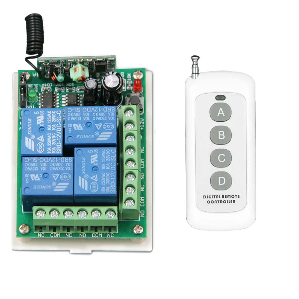 500m DC 12V 4 CH 4CH RF Wireless Remote Control Switch System,Transmitter + Receiver,315/433.92MHZ,Momentary / Toggle remote switch 12v dc rf wireless 4 receiver 3 transmitter lighting digital switch learning code toggle momentary 315 433 92mhz
