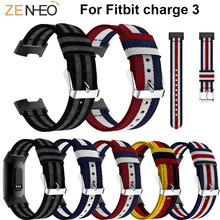 Leisure Nylon Wristband Bracelet Wrist Band For Fitbit Charge 3 smart watch Strap Replacement watches Straps