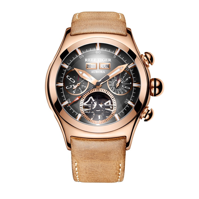 Reef Tiger RT Luxury Brand Sport Watches Genuine Leather Strap Rose Gold Tourbillon Automatic Watches for