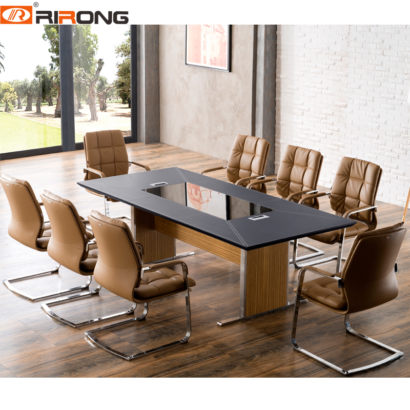 Modern Colorful Style Rectangle Shape Office Wood Veneer Leather  Small Size Conference  Room Meeting Table