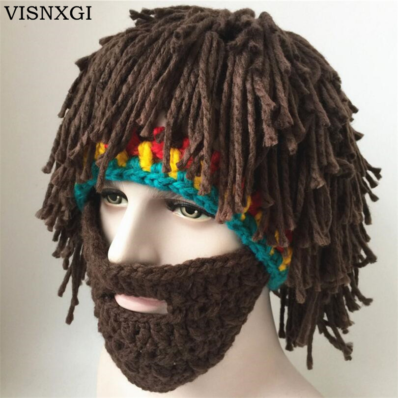 VISNXGI Wig Beard Hats Hobo Mad Scientist Caveman Handmade Knit Warm Winter Caps Men Women Halloween Gifts Funny Party Beanies