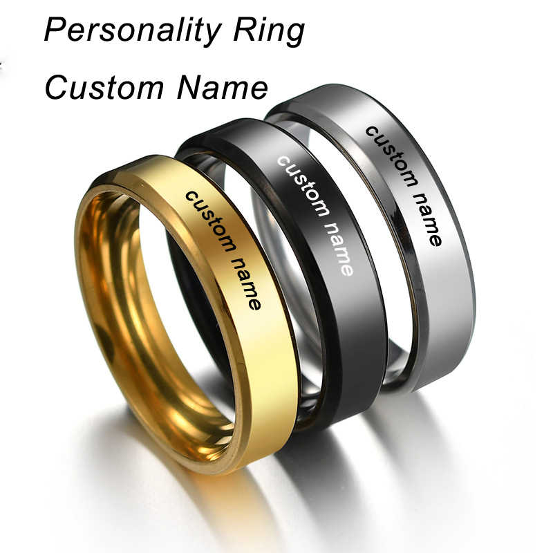2019 Anel Anillos Custom Name Engrave Logo Glossy 6mm Mens Ring Size Stainless Steel Rings For Wholesale Lots Bulk Dropshipping