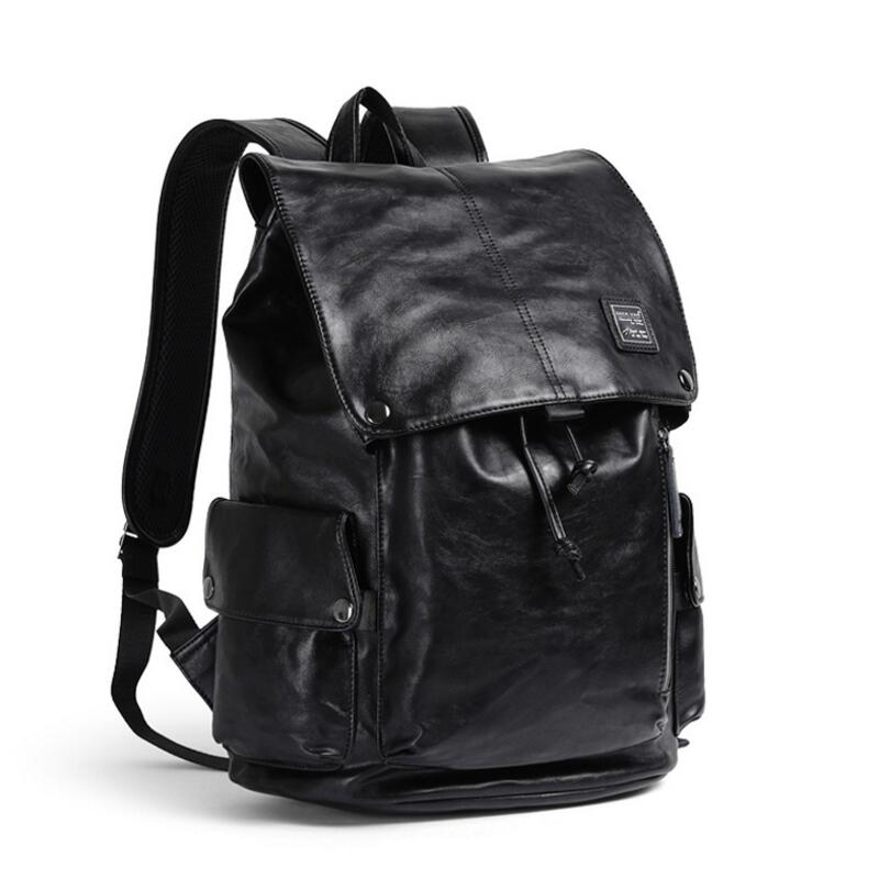 "Brand New Men Backpack Fashion Shoulder Bag Black PU Leather Bag College School Travel Casual Daypacks For 15"" laptop Hot Sale 4"