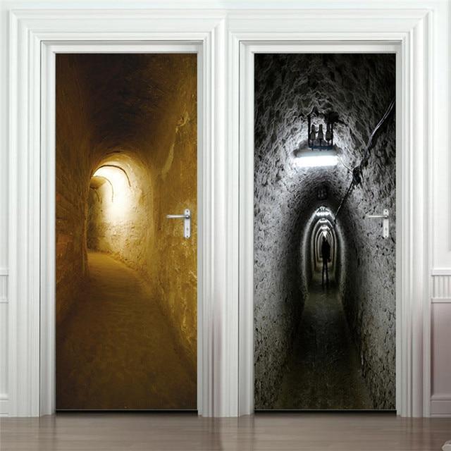 200*77cm 3D Door Stickers Removable Waterproof Scary Tunnel Door Poster Store Home Decor Living Room Bedroom Wall Sticker