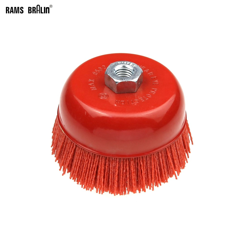 "1 piece 115* M14 Cup Nylon Abrasive Brush Wheel P80 Pile Polymer abrasive 4.5"" Angle Grinder Tool-in Abrasive Tools from Tools"