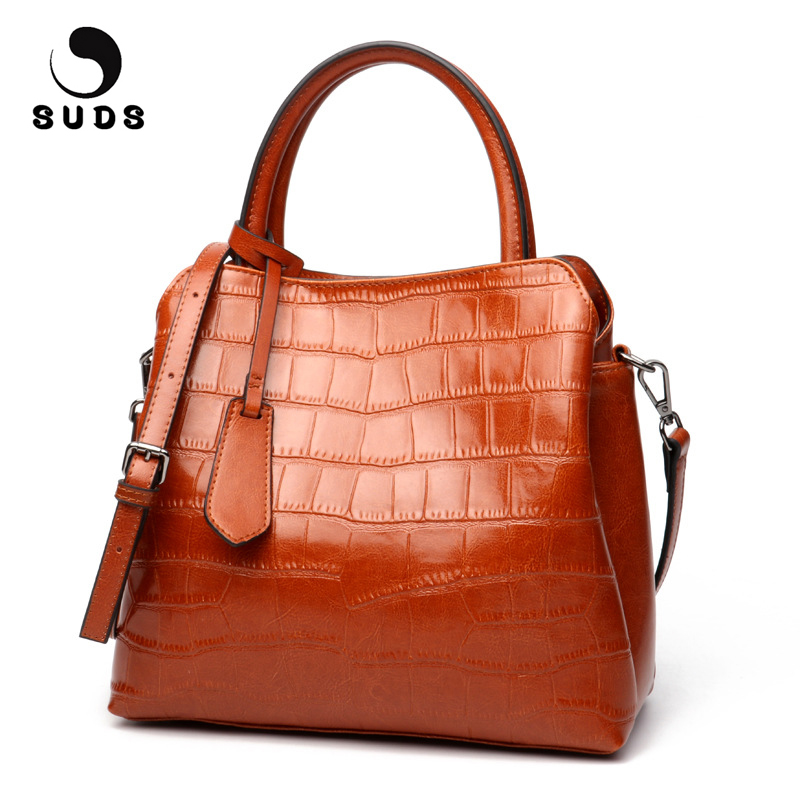 SUDS Brand Women Bag Genuine Leather Handbags Female Large Capacity Soft Cow Leather Shoulder Bags Ladies Fashion Crossbody Bags fashion women genuine leather handbags large capacity tote bag oil wax leather shoulder bag crossbody bags for women