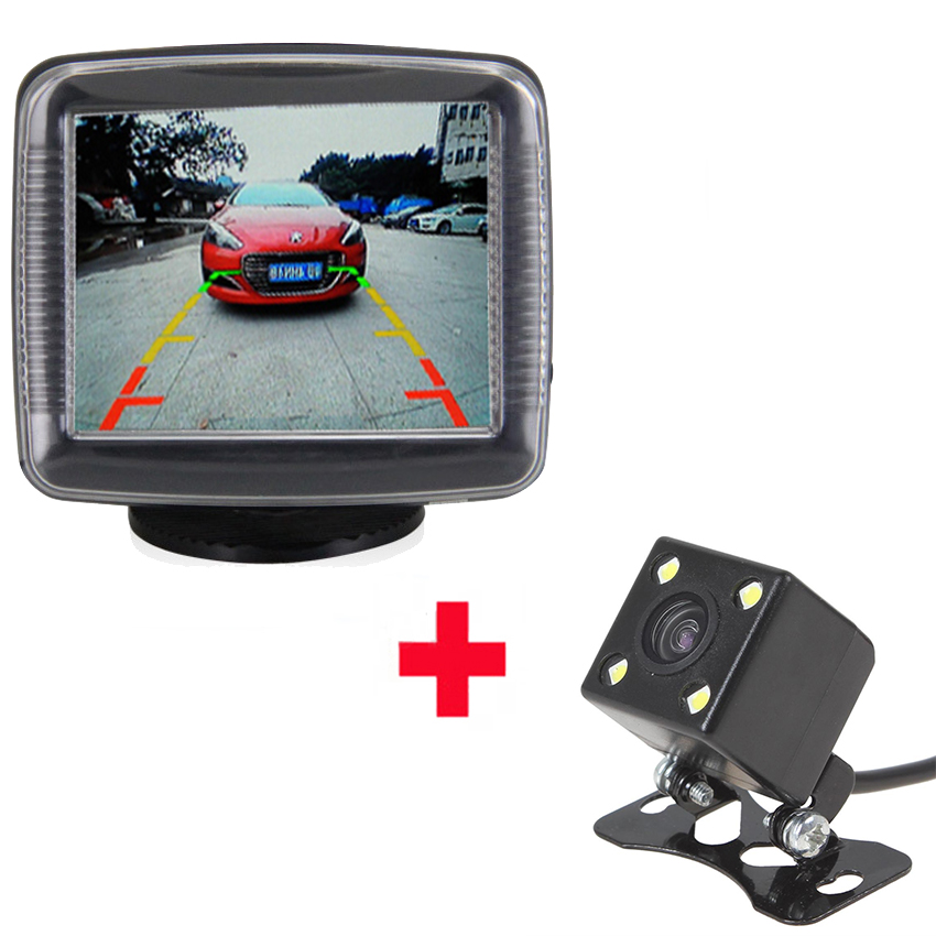 Auto Parktronic for Cars 3.5 Inch 2 Video Input LCD Display Car Screen Monitor for Rear View Camera Reversing 4 LED Night Vision