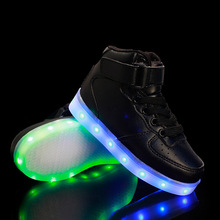 2016 USB Charging Basket Led Children Shoes Eur25-37 Luminous Sneakers with Light Up Kids Casual Boys&Girls Glowing Shoe Enfant