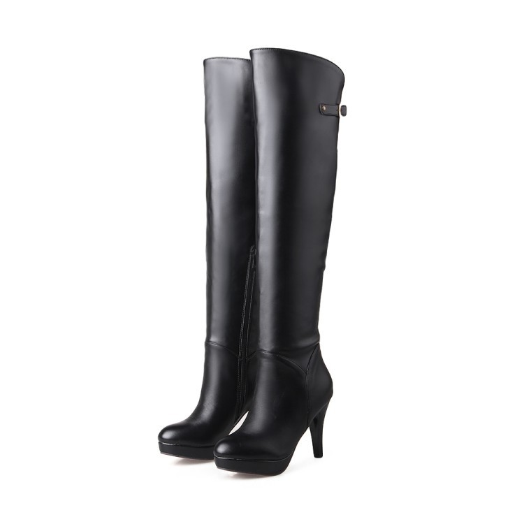 2018 New Knee Boots Thin Side Zipper Pure Color Boots Waterproof Table Boots Custom Size Code.31 32 33 40 41 42 43 44 45 46