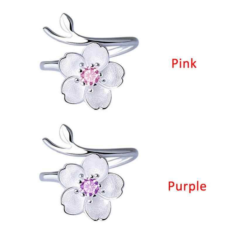 Baru Bunga Sakura Bunga Cincin 925 Sterling Silve untuk Wanita Wanita Dapat Disesuaikan Ukuran Cincin Fashion Perhiasan #13